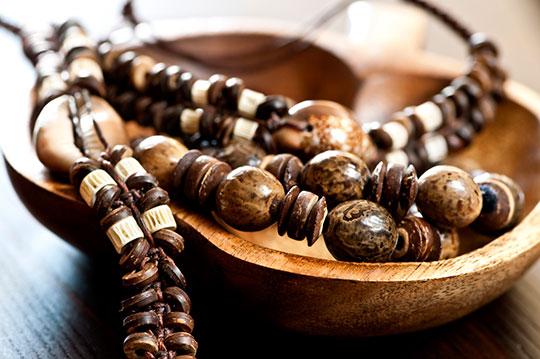 Hand made wood shell and bone jewelry