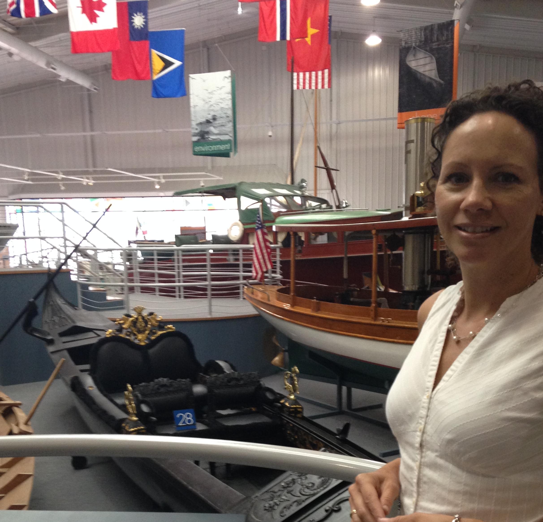 Laura Morelli with a Venetian gondola at the Mariners Museum in Newport News, Virginia