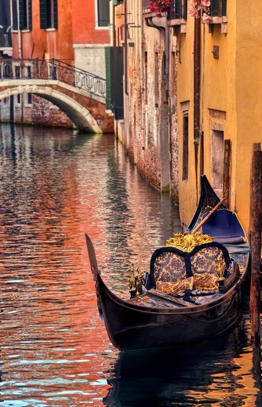 Gondola in canal, Venice, Italy