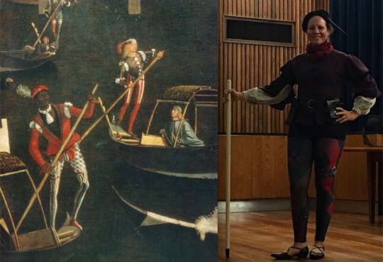 Cross-dressing isn't part of my normal routine, but I played the role of a 15th-century gondolier for the costume pageant. And guess what? I won second place--ha ha! (Maybe I should do it more often?) Can you see the resemblance? Vittore Carpaccio, Detail from the Miracles of the True Cross, ca. 1490, Gallerie dell'Accademia, Venice.